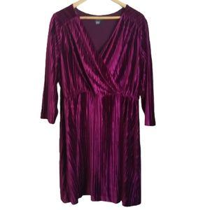3/30$ ADDITIONNELLE Pink Velvet Faux Wrap Knee Length Long Sleeves Dress Size 2X